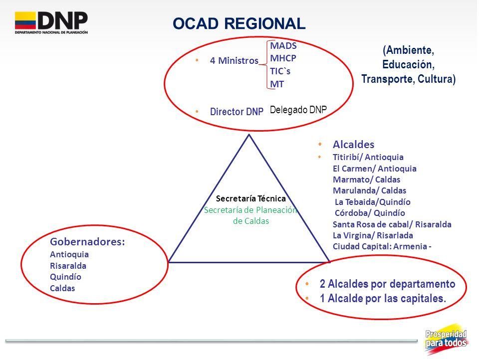 OCAD REGIONAL MADS MHCP TIC`s MT Delegado DNP 4 Ministros Director DNP 2 Alcaldes por departamento 1 Alcalde por las capitales. Gobernadores: Antioqui
