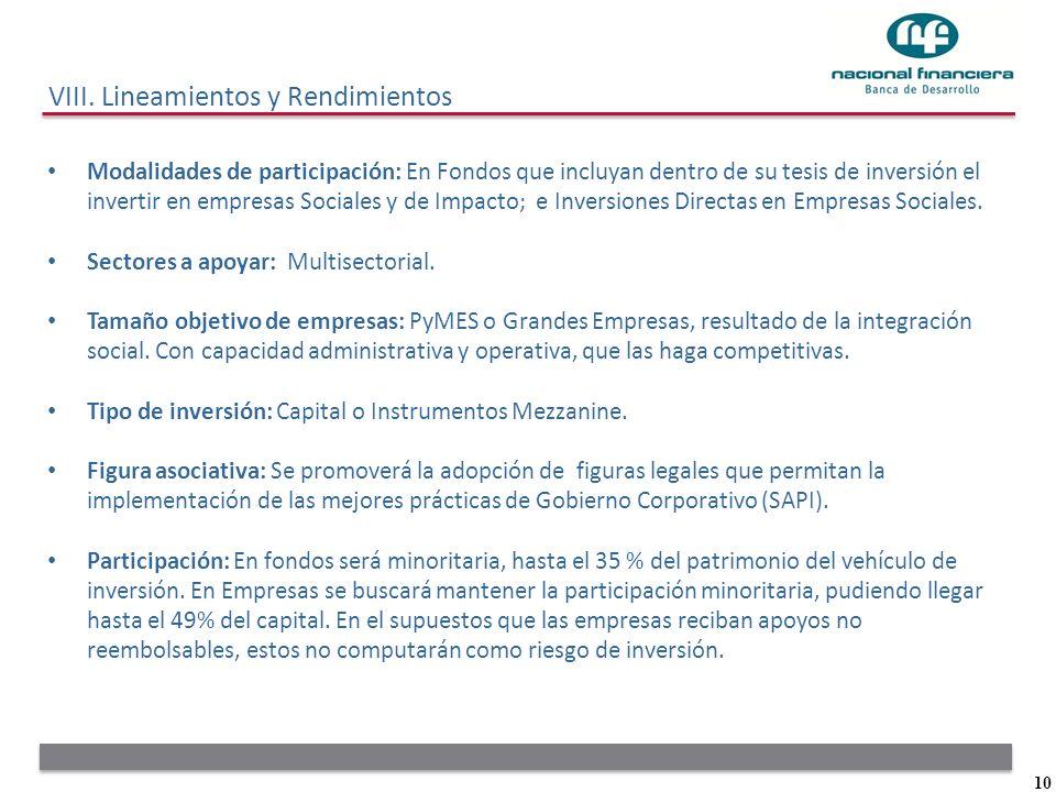 10 Modalidades de participación: En Fondos que incluyan dentro de su tesis de inversión el invertir en empresas Sociales y de Impacto; e Inversiones D