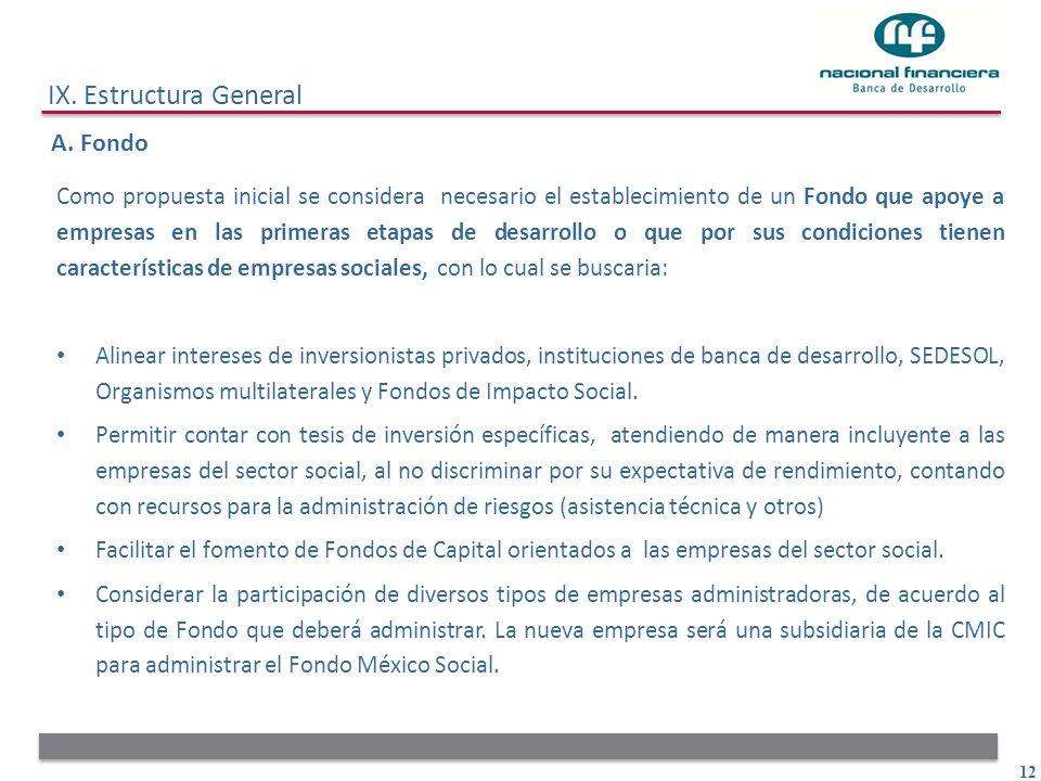 12 IX. Estructura General A. Fondo Como propuesta inicial se considera necesario el establecimiento de un Fondo que apoye a empresas en las primeras e