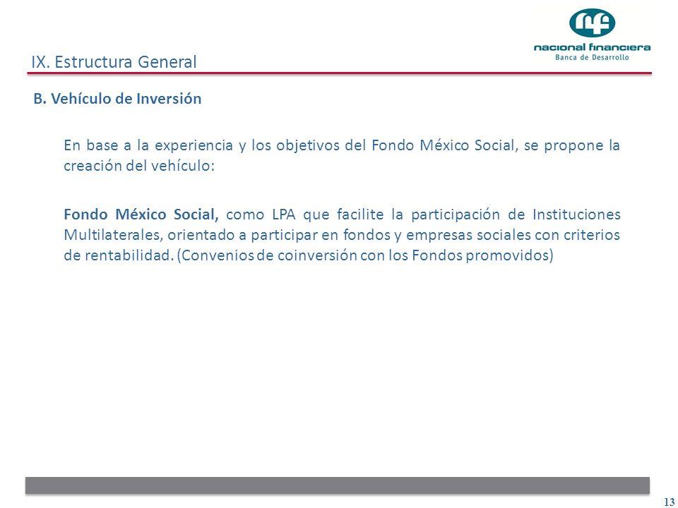 13 IX. Estructura General B. Vehículo de Inversión En base a la experiencia y los objetivos del Fondo México Social, se propone la creación del vehícu