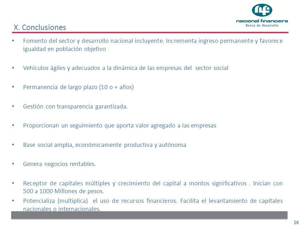 16 X. Conclusiones Fomento del sector y desarrollo nacional incluyente. Incrementa ingreso permanente y favorece igualdad en población objetivo Vehícu