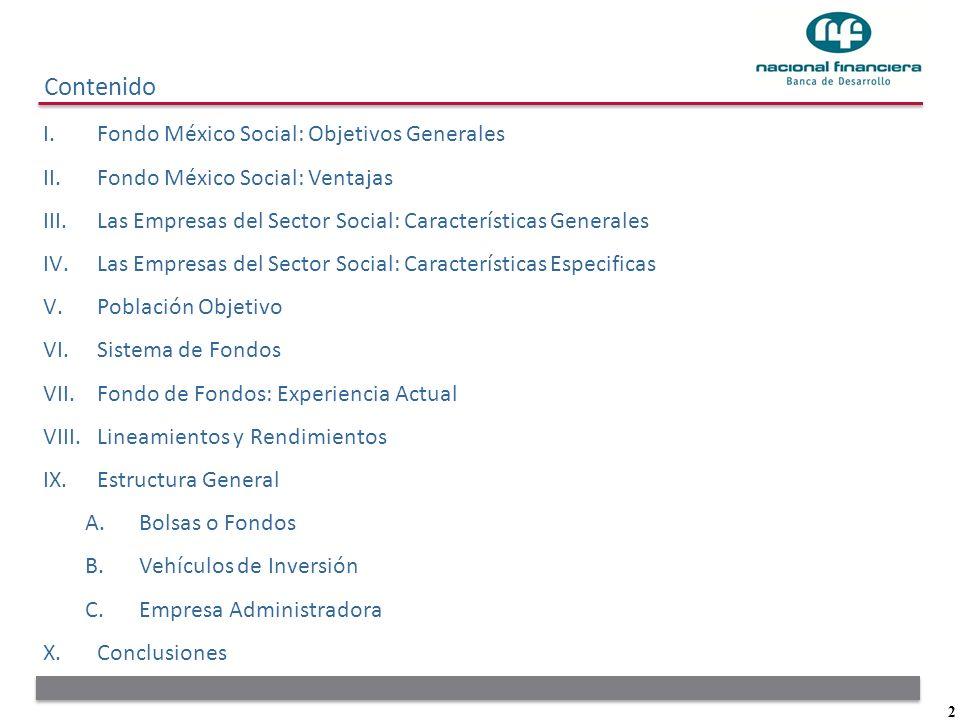 2 Contenido I.Fondo México Social: Objetivos Generales II.Fondo México Social: Ventajas III.Las Empresas del Sector Social: Características Generales