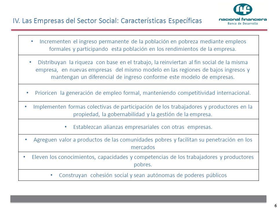 6 IV. Las Empresas del Sector Social: Características Específicas Incrementen el ingreso permanente de la población en pobreza mediante empleos formal