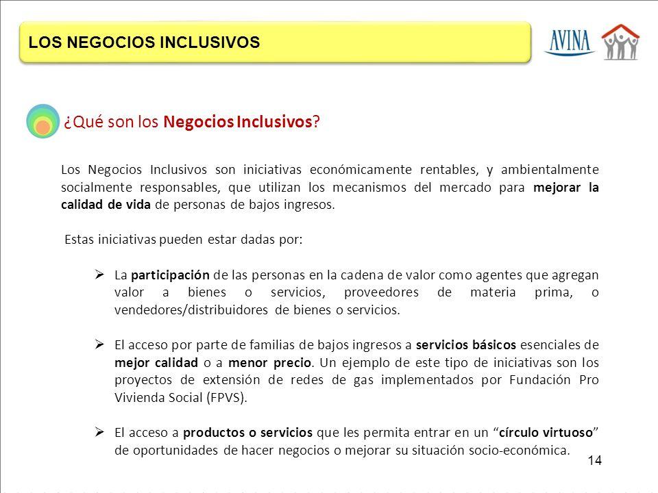 Los Negocios Inclusivos son iniciativas económicamente rentables, y ambientalmente socialmente responsables, que utilizan los mecanismos del mercado para mejorar la calidad de vida de personas de bajos ingresos.