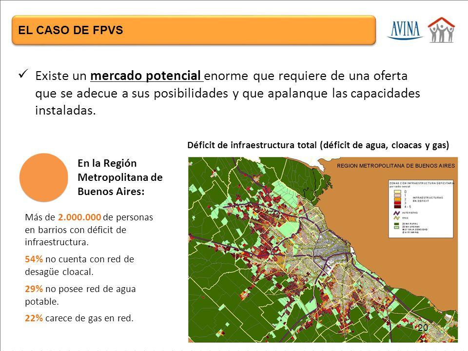 Más de 2.000.000 de personas en barrios con déficit de infraestructura.
