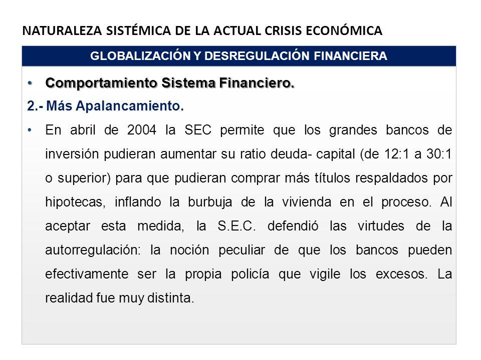 NATURALEZA SISTÉMICA DE LA ACTUAL CRISIS ECONÓMICA GLOBALIZACIÓN Y DESREGULACIÓN FINANCIERA Comportamiento Sistema Financiero.Comportamiento Sistema F