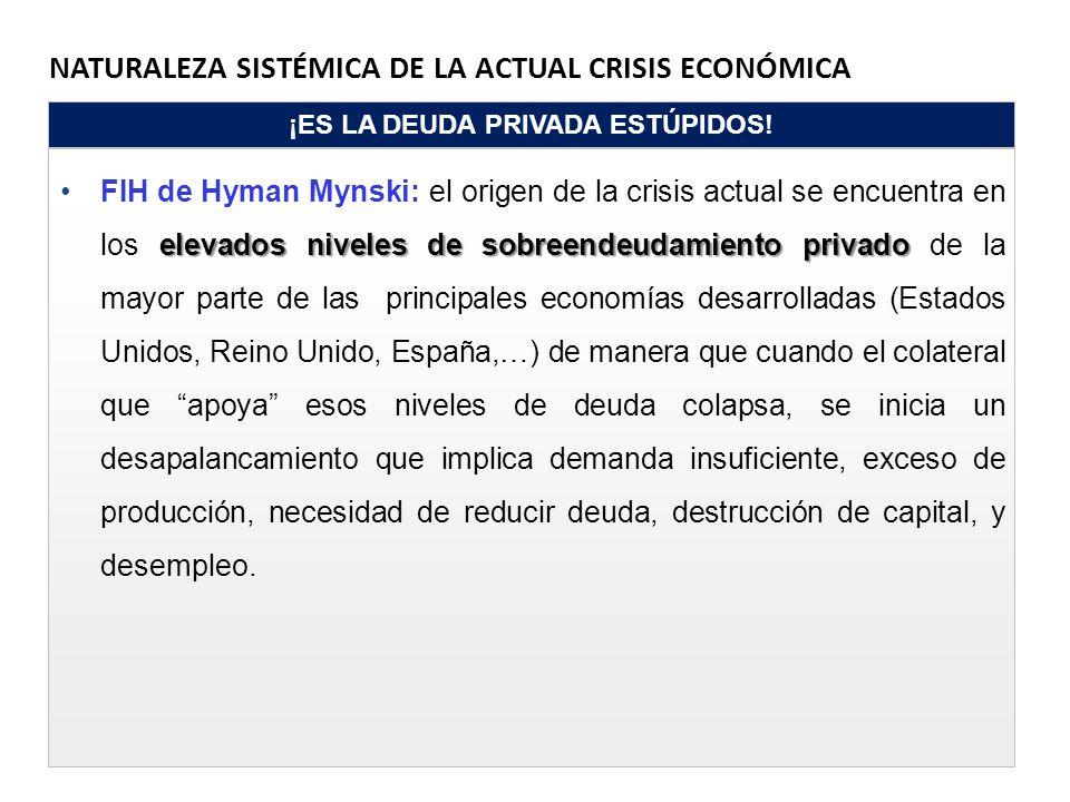 NATURALEZA SISTÉMICA DE LA ACTUAL CRISIS ECONÓMICA ¡ES LA DEUDA PRIVADA ESTÚPIDOS! elevados niveles de sobreendeudamiento privadoFIH de Hyman Mynski: