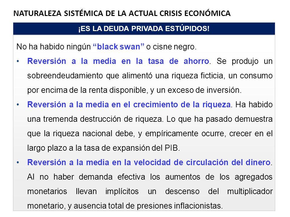 NATURALEZA SISTÉMICA DE LA ACTUAL CRISIS ECONÓMICA ¡ES LA DEUDA PRIVADA ESTÚPIDOS! No ha habido ningún black swan o cisne negro. Reversión a la media