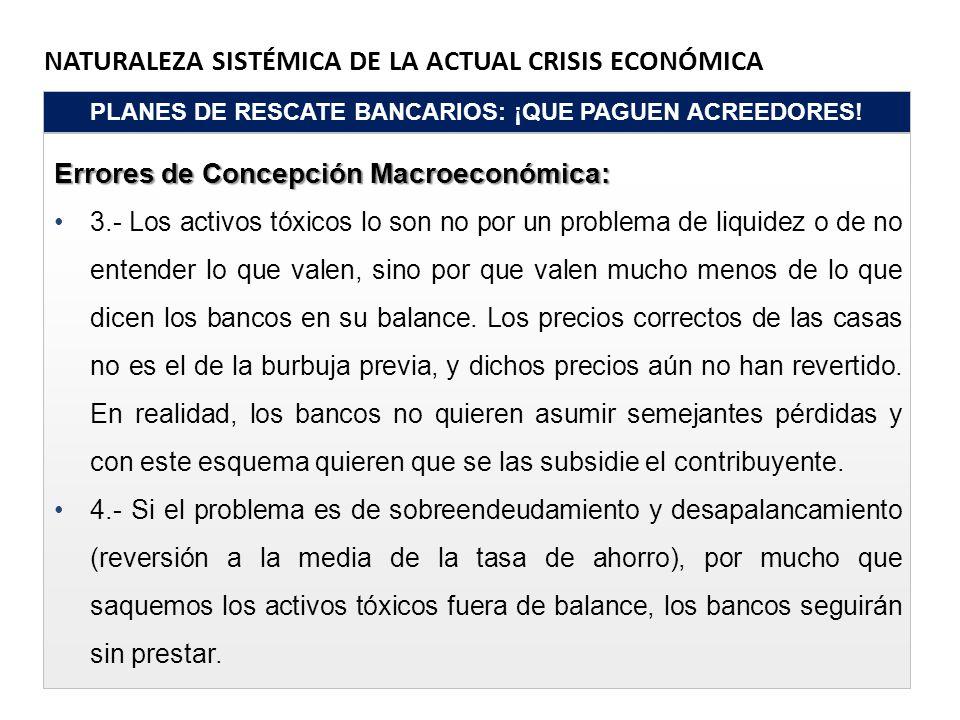 NATURALEZA SISTÉMICA DE LA ACTUAL CRISIS ECONÓMICA PLANES DE RESCATE BANCARIOS: ¡QUE PAGUEN ACREEDORES! Errores de Concepción Macroeconómica: 3.- Los
