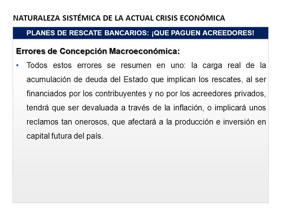NATURALEZA SISTÉMICA DE LA ACTUAL CRISIS ECONÓMICA PLANES DE RESCATE BANCARIOS: ¡QUE PAGUEN ACREEDORES! Errores de Concepción Macroeconómica: Todos es