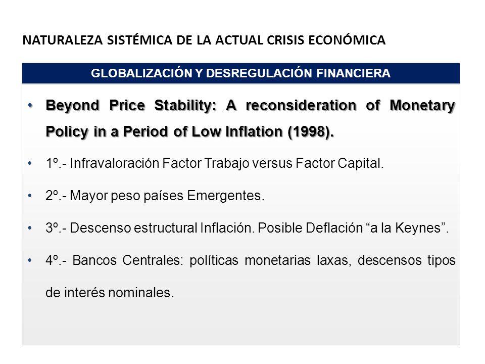 NATURALEZA SISTÉMICA DE LA ACTUAL CRISIS ECONÓMICA GLOBALIZACIÓN Y DESREGULACIÓN FINANCIERA Beyond Price Stability: A reconsideration of Monetary Poli