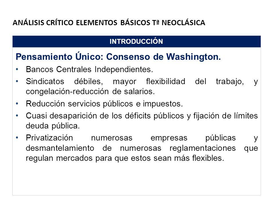ANÁLISIS CRÍTICO ELEMENTOS BÁSICOS Tª NEOCLÁSICA INTRODUCCIÓN Pensamiento Único: Consenso de Washington. Bancos Centrales Independientes. Sindicatos d