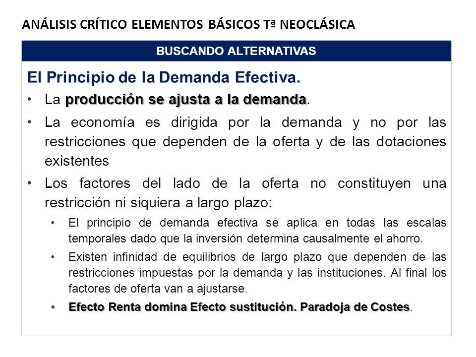 ANÁLISIS CRÍTICO ELEMENTOS BÁSICOS Tª NEOCLÁSICA BUSCANDO ALTERNATIVAS El Principio de la Demanda Efectiva. producción se ajusta a la demandaLa produc