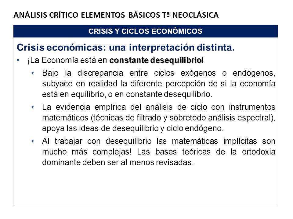ANÁLISIS CRÍTICO ELEMENTOS BÁSICOS Tª NEOCLÁSICA CRISIS Y CICLOS ECONÓMICOS Crisis económicas: una interpretación distinta. constante desequilibrio¡La