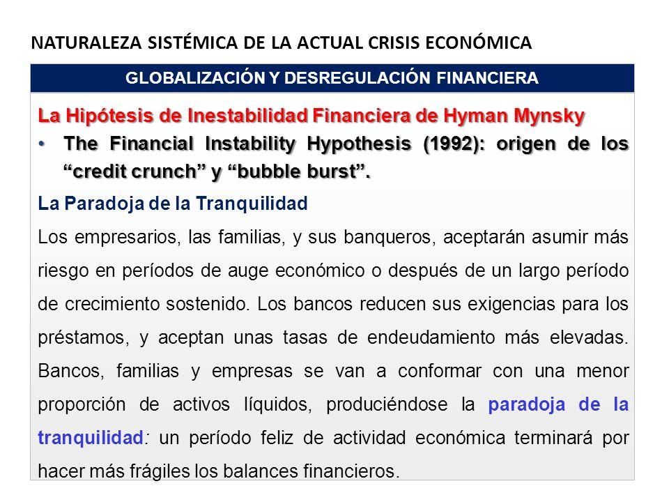 NATURALEZA SISTÉMICA DE LA ACTUAL CRISIS ECONÓMICA GLOBALIZACIÓN Y DESREGULACIÓN FINANCIERA La Hipótesis de Inestabilidad Financiera de Hyman Mynsky T