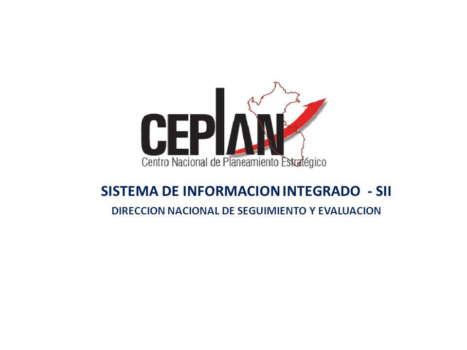 SII CEPLAN Entidades del SINAPLAN Bases de Datos propia Indicadores seleccionados - Directivas - Estructura de planes - Formatos de metadatos - Asistencia técnica -Plan Nacional, sectorial, regional, provincial, distrital, PEI y POI - Registra proyectos - Plan anual de seguimiento– PASE -Informe de seguimiento -Informe de evaluación Sistema de información integrado - SII -MIPE: Acopio y publicación de Información estadística -SINPLE: Registro y flujo de planes de desarrollo - SIME : Registro de planes de seguimiento, evaluación e informes - BANPPE: Banco de proyectos estratégicos de Desarrollo Nacional.