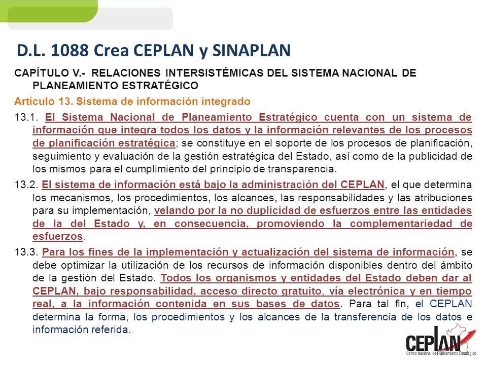 CAPÍTULO V.- RELACIONES INTERSISTÉMICAS DEL SISTEMA NACIONAL DE PLANEAMIENTO ESTRATÉGICO Artículo 13. Sistema de información integrado 13.1. El Sistem