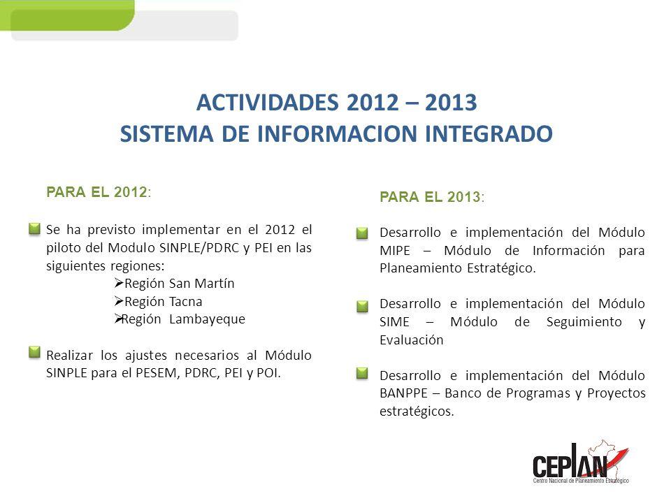 ACTIVIDADES 2012 – 2013 SISTEMA DE INFORMACION INTEGRADO PARA EL 2012: Se ha previsto implementar en el 2012 el piloto del Modulo SINPLE/PDRC y PEI en