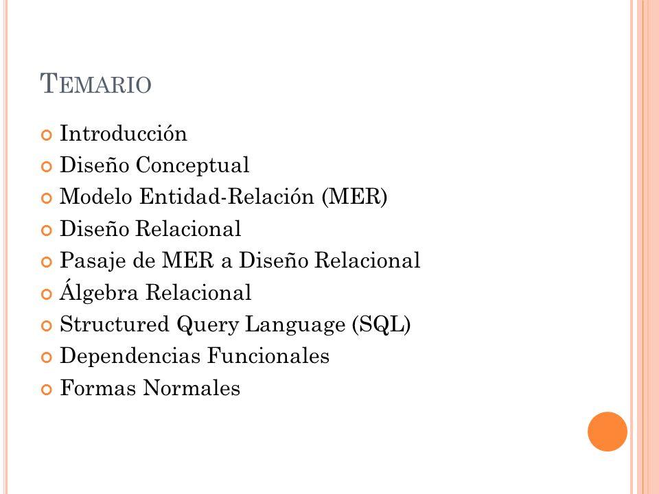 T EMARIO Introducción Diseño Conceptual Modelo Entidad-Relación (MER) Diseño Relacional Pasaje de MER a Diseño Relacional Álgebra Relacional Structured Query Language (SQL) Dependencias Funcionales Formas Normales