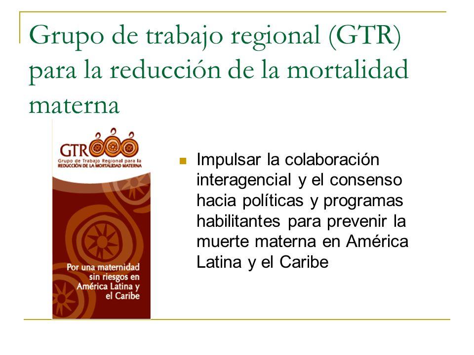 Grupo de trabajo regional (GTR) para la reducción de la mortalidad materna Impulsar la colaboración interagencial y el consenso hacia políticas y prog