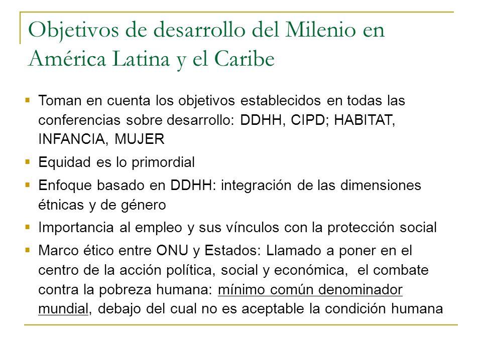 Objetivos de desarrollo del Milenio en América Latina y el Caribe Toman en cuenta los objetivos establecidos en todas las conferencias sobre desarroll