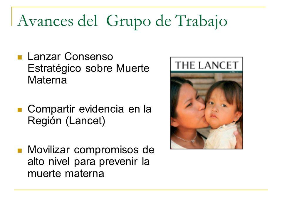 Avances del Grupo de Trabajo Lanzar Consenso Estratégico sobre Muerte Materna Compartir evidencia en la Región (Lancet) Movilizar compromisos de alto