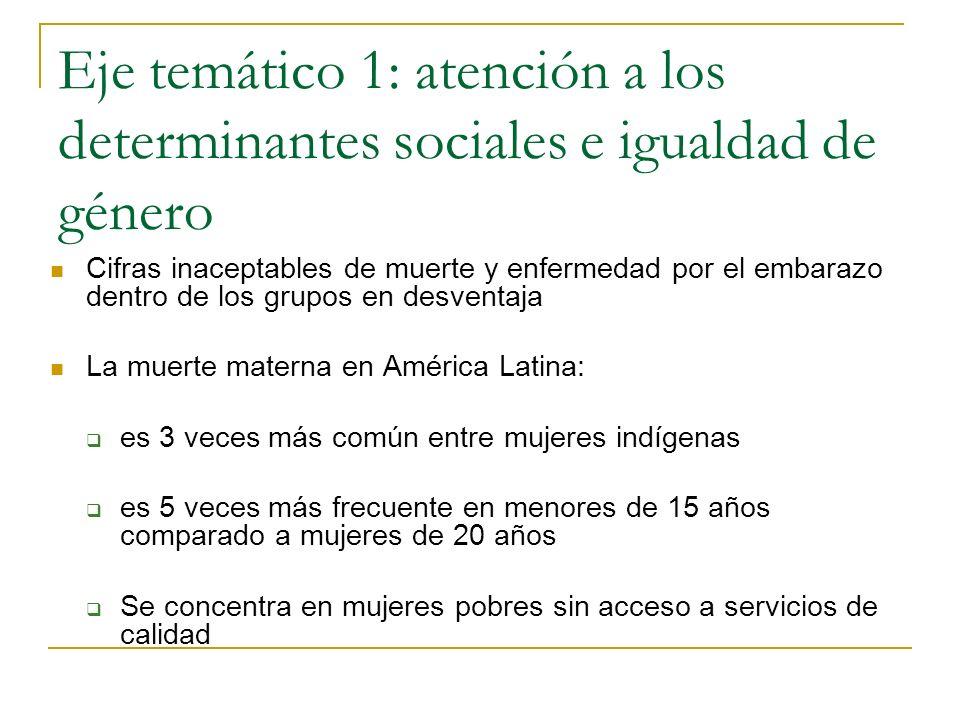 Eje temático 1: atención a los determinantes sociales e igualdad de género Cifras inaceptables de muerte y enfermedad por el embarazo dentro de los gr