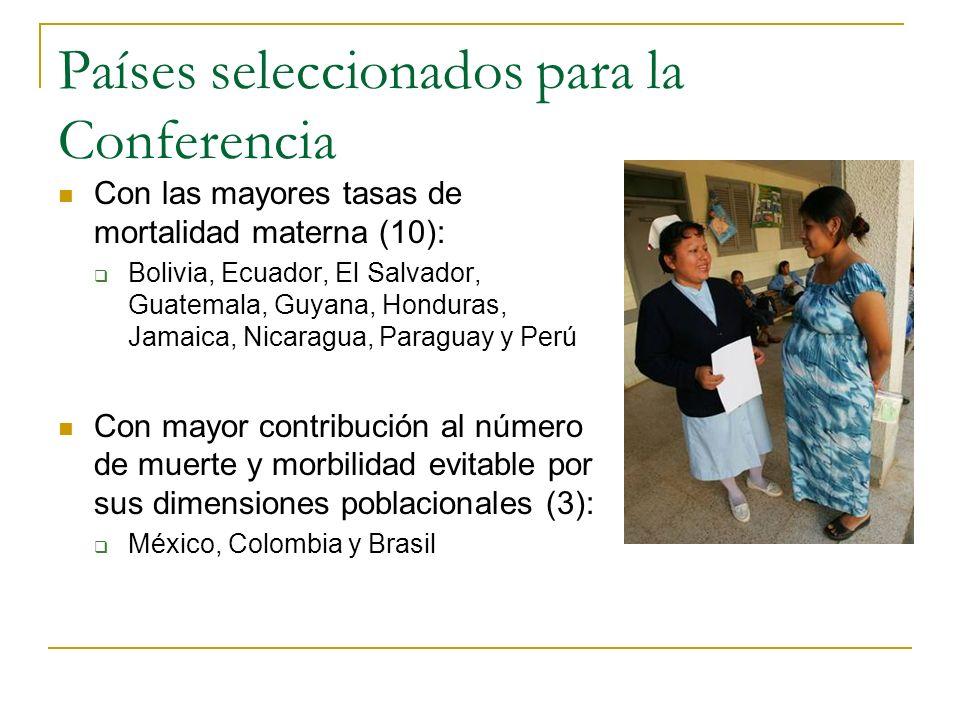 Países seleccionados para la Conferencia Con las mayores tasas de mortalidad materna (10): Bolivia, Ecuador, El Salvador, Guatemala, Guyana, Honduras,