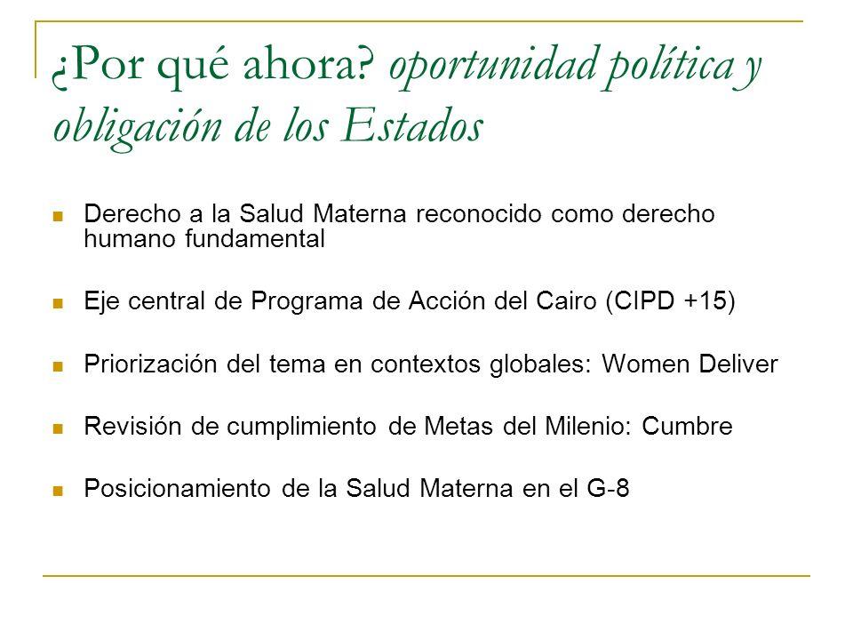¿Por qué ahora? oportunidad política y obligación de los Estados Derecho a la Salud Materna reconocido como derecho humano fundamental Eje central de