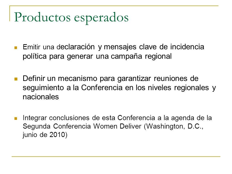 Productos esperados Emitir una d eclaración y mensajes clave de incidencia política para generar una campaña regional Definir un mecanismo para garant
