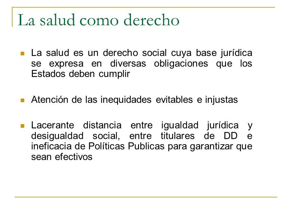 La salud como derecho La salud es un derecho social cuya base jurídica se expresa en diversas obligaciones que los Estados deben cumplir Atención de l