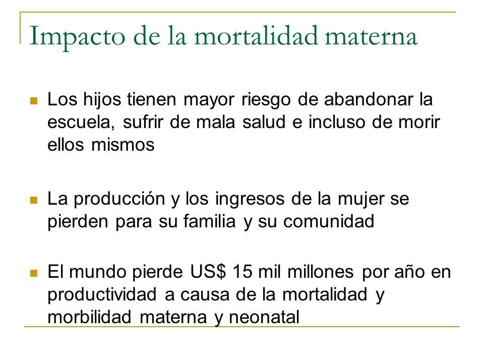 Impacto de la mortalidad materna Los hijos tienen mayor riesgo de abandonar la escuela, sufrir de mala salud e incluso de morir ellos mismos La produc