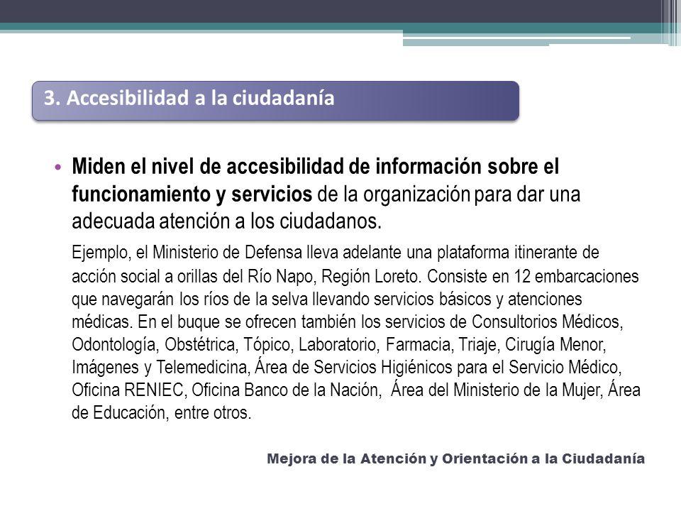 Miden el nivel de accesibilidad de información sobre el funcionamiento y servicios de la organización para dar una adecuada atención a los ciudadanos.