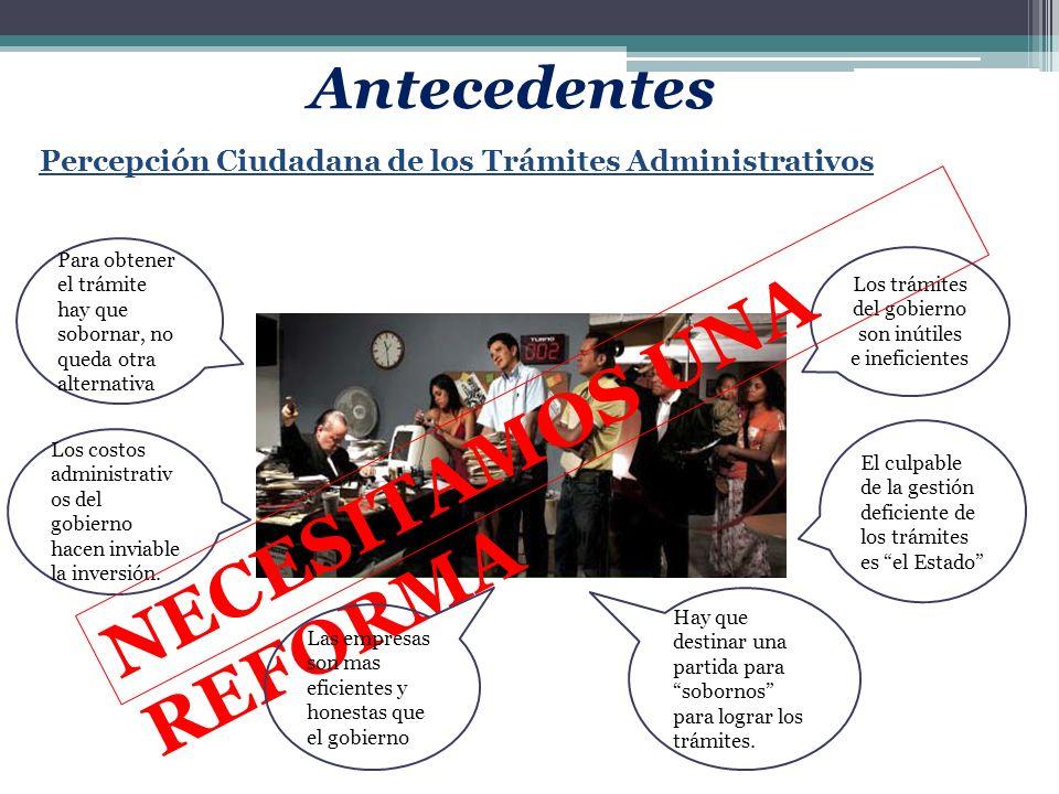Percepción Ciudadana de los Trámites Administrativos Los trámites del gobierno son inútiles e ineficientes El culpable de la gestión deficiente de los