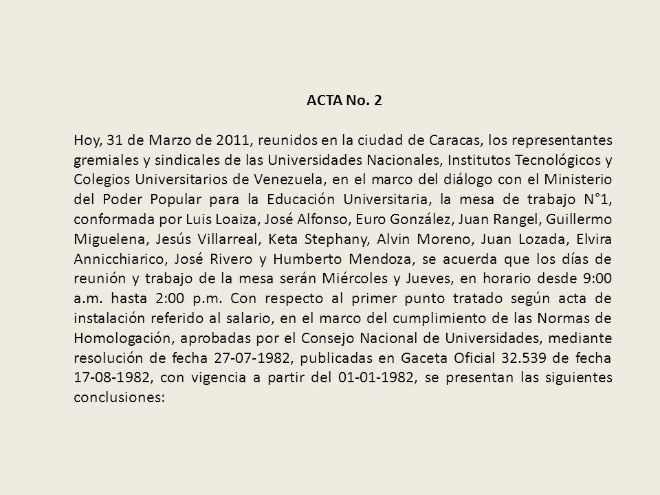 ACTA No. 2 Hoy, 31 de Marzo de 2011, reunidos en la ciudad de Caracas, los representantes gremiales y sindicales de las Universidades Nacionales, Inst