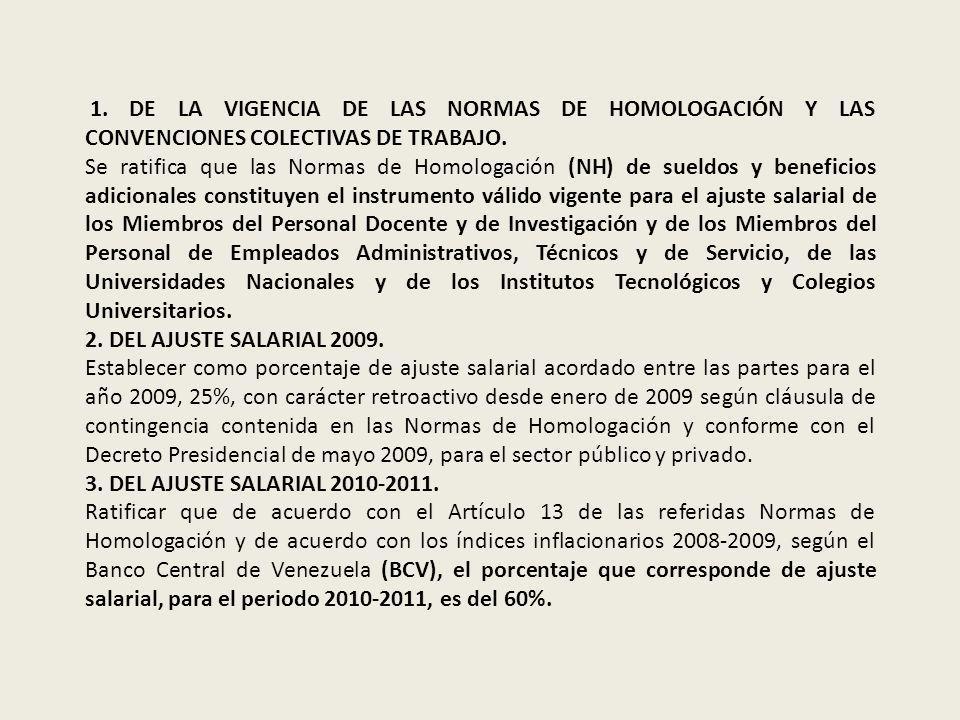 1. DE LA VIGENCIA DE LAS NORMAS DE HOMOLOGACIÓN Y LAS CONVENCIONES COLECTIVAS DE TRABAJO.