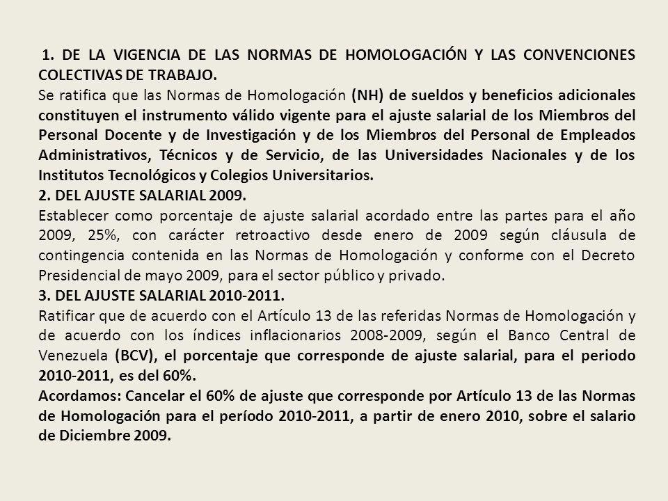 1. DE LA VIGENCIA DE LAS NORMAS DE HOMOLOGACIÓN Y LAS CONVENCIONES COLECTIVAS DE TRABAJO. Se ratifica que las Normas de Homologación (NH) de sueldos y