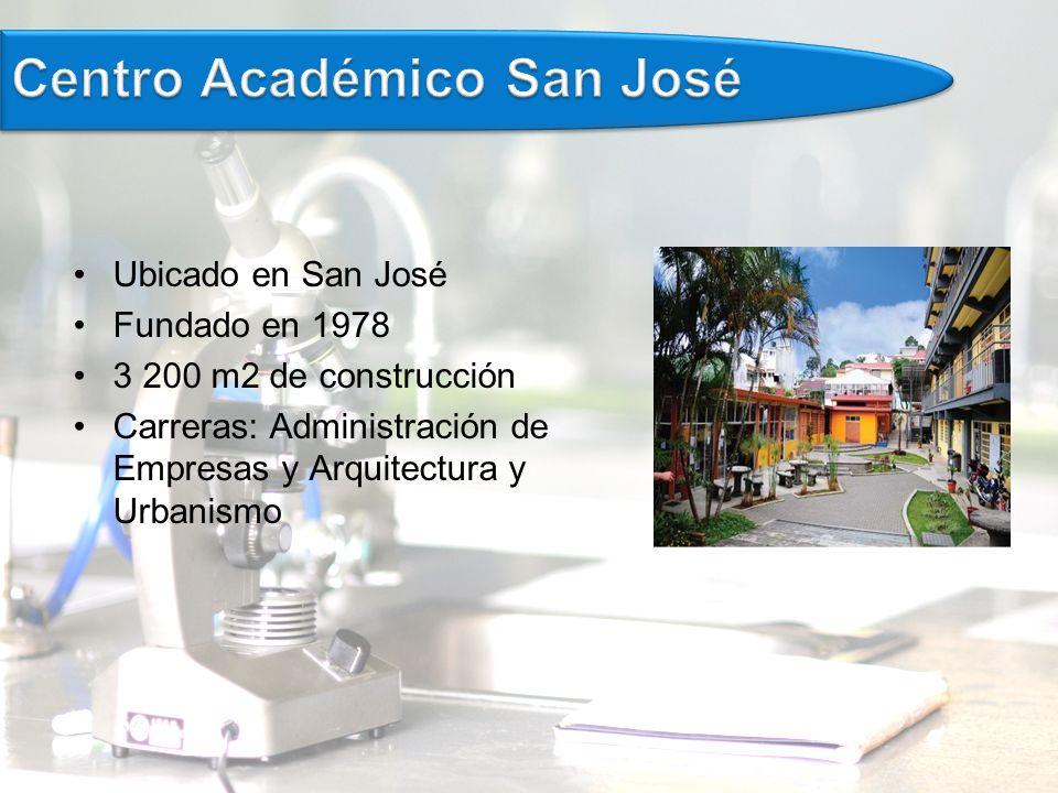 Ubicado en San José Fundado en 1978 3 200 m2 de construcción Carreras: Administración de Empresas y Arquitectura y Urbanismo