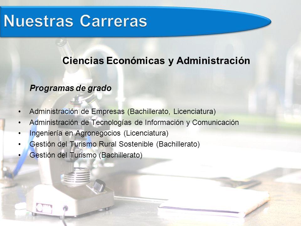 Ciencias Económicas y Administración Programas de grado Administración de Empresas (Bachillerato, Licenciatura) Administración de Tecnologías de Información y Comunicación Ingeniería en Agronegocios (Licenciatura) Gestión del Turismo Rural Sostenible (Bachillerato) Gestión del Turismo (Bachillerato)