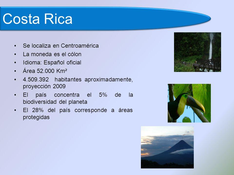 Costa Rica Se localiza en Centroamérica La moneda es el cólon Idioma: Español oficial Área 52.000 Km² 4.509.392 habitantes aproximadamente, proyección 2009 El país concentra el 5% de la biodiversidad del planeta El 28% del país corresponde a áreas protegidas