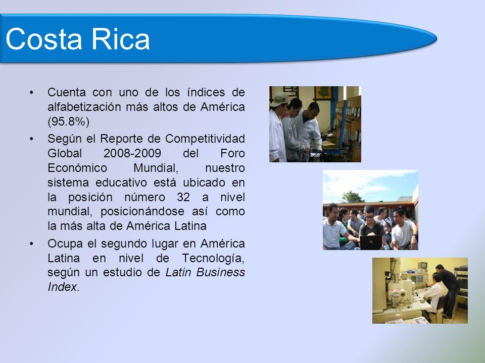 Cuenta con uno de los índices de alfabetización más altos de América (95.8%) Según el Reporte de Competitividad Global 2008-2009 del Foro Económico Mundial, nuestro sistema educativo está ubicado en la posición número 32 a nivel mundial, posicionándose así como la más alta de América Latina Ocupa el segundo lugar en América Latina en nivel de Tecnología, según un estudio de Latin Business Index.