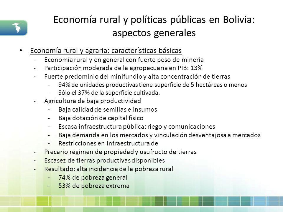 Economía rural y políticas públicas en Bolivia: aspectos generales Economía rural y agraria: características básicas -Economía rural y en general con