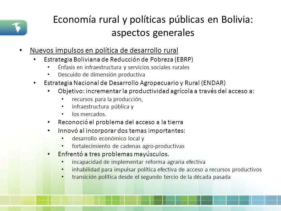 Economía rural y políticas públicas en Bolivia: aspectos generales Nuevos impulsos en política de desarrollo rural Estrategia Boliviana de Reducción d
