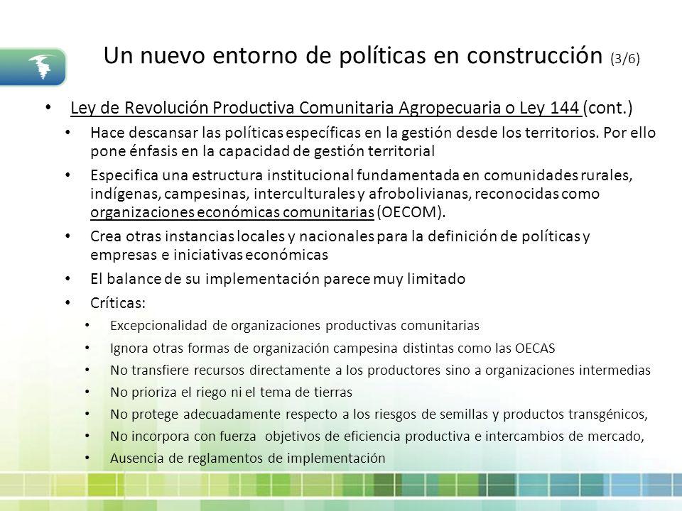 Un nuevo entorno de políticas en construcción (3/6) Ley de Revolución Productiva Comunitaria Agropecuaria o Ley 144 (cont.) Hace descansar las polític