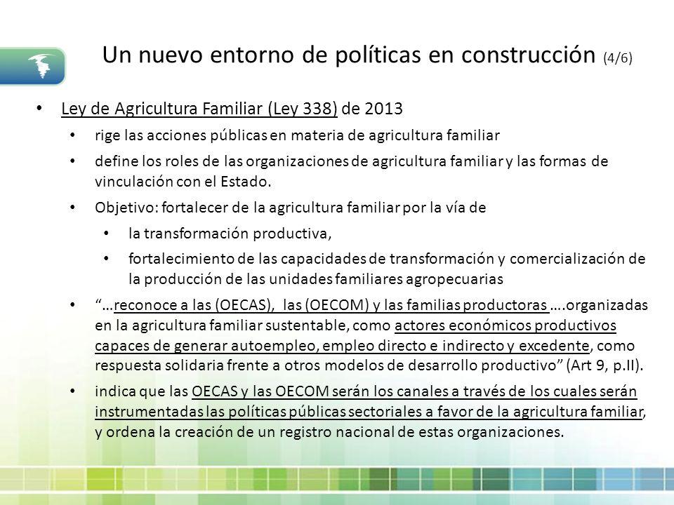 Un nuevo entorno de políticas en construcción (4/6) Ley de Agricultura Familiar (Ley 338) de 2013 rige las acciones públicas en materia de agricultura
