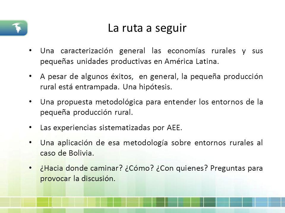 La ruta a seguir Una caracterización general las economías rurales y sus pequeñas unidades productivas en América Latina. A pesar de algunos éxitos, e