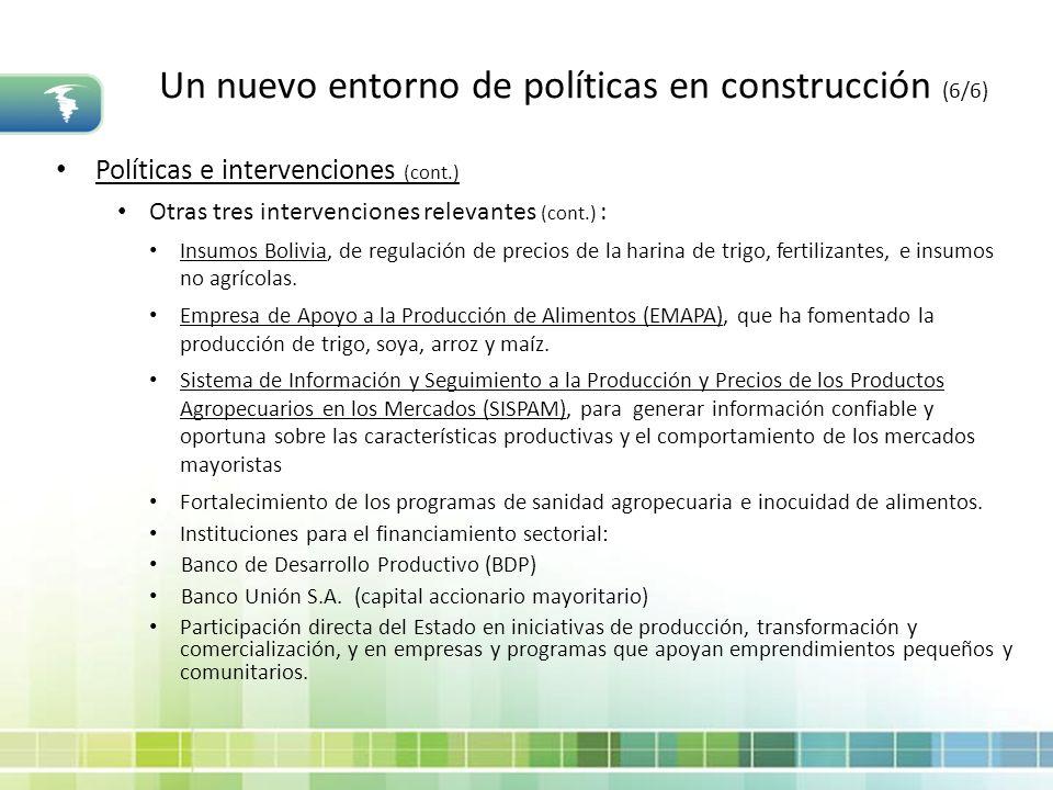 Un nuevo entorno de políticas en construcción (6/6) Políticas e intervenciones (cont.) Otras tres intervenciones relevantes (cont.) : Insumos Bolivia,