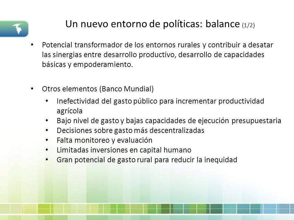 Un nuevo entorno de políticas: balance (1/2) Potencial transformador de los entornos rurales y contribuir a desatar las sinergias entre desarrollo pro
