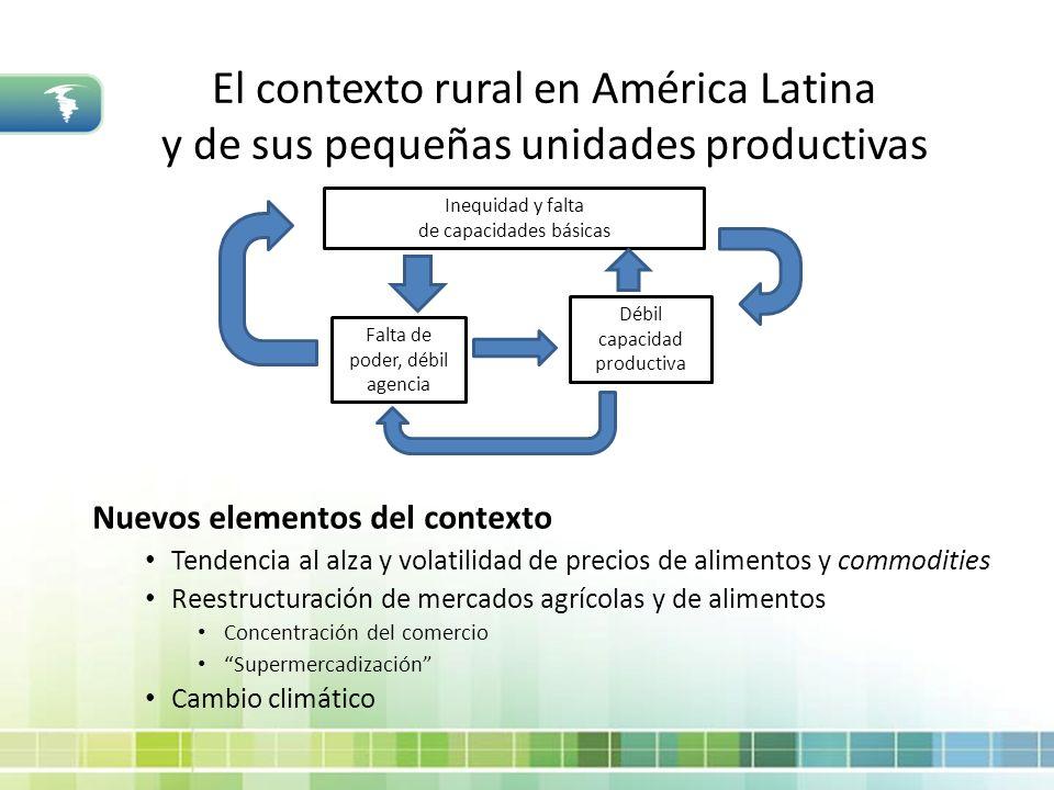 Economía rural y políticas públicas en Bolivia: aspectos generales Nuevos impulsos en política de desarrollo rural Estrategia Boliviana de Reducción de Pobreza (EBRP) Énfasis en infraestructura y servicios sociales rurales Descuido de dimensión productiva Estrategia Nacional de Desarrollo Agropecuario y Rural (ENDAR) Objetivo: incrementar la productividad agrícola a través del acceso a: recursos para la producción, infraestructura pública y los mercados.
