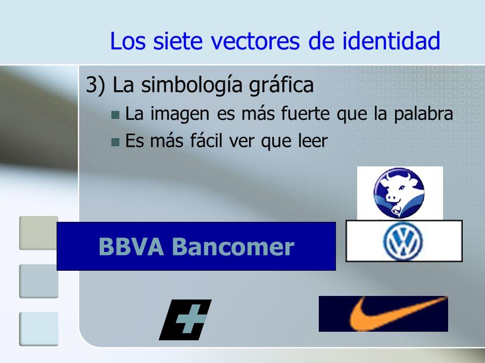 Los siete vectores de identidad 2) El Logotipo Traducción visual del nombre Un estilo propio ayuda a diferenciar a la organización, producto o servici